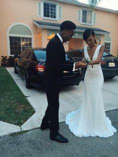 Long White Prom Dress for Black Girls