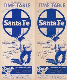 1967 AT&SF Santa Fe Railway Time Table Passenger Schedules Route Map Rail Fares