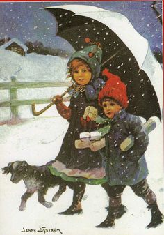 Beautiful vintage reprint Christmas card by the well-known swedish artist Jenny Nyström!