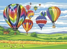 Amazon.com - Reeves Hot Air Balloons Large Acrylic Paint By Numbers Set