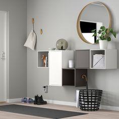 EKET Wall-mounted cabinet combination, dark grey x 175 cm - IKEA Ireland Flur Design, Wall Design, Ikea Eket, Flexible Furniture, New Furniture, Cabinet Doors, White Walls, Floating Shelves, Shelving