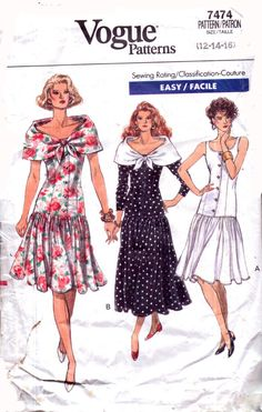 Genuine Vintage 1980s VOGUE Ladies Gathered Drop-Waisted dress with Cowl Tie collar '3' designs Sewing Pattern