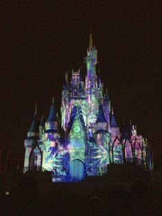 My Disney Life: Our Walt Disney World Frozen Experiences- Cinderella Castle transformed into snowflakes during the Frozen segment of Celebrate the Magic.