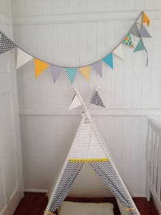 White and Grey Chevron tepee play tent. Poles by NestNFeather Tent Poles, Grey Chevron, Play Houses, Kids Rooms, Bunting, Nest, Feather, Baby, Home Decor
