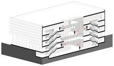 Building O - University of Antwerp Auditorium and Research Building Winning Proposal / META architectuurbureau,section diagram