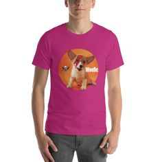 Bowie Puppy Short-Sleeve Unisex T-Shirt Designer Wear, Bowie, Fabric Weights, How To Make, How To Wear, Puppies, Unisex, Hoodies, Sleeve