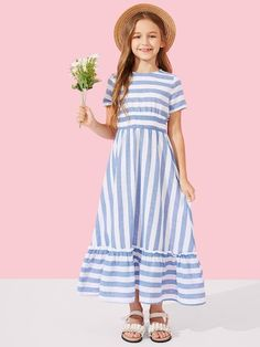 To find out about the Girls Ruffle Hem Frill Trim Striped Dress at SHEIN, part of our latest Girls Dresses ready to shop online today! Girls Fashion Clothes, Fashion Kids, Fashion Dresses, Trendy Clothing, Young Fashion, Men Fashion, Fashion Trends, Little Girl Dresses, Girls Dresses