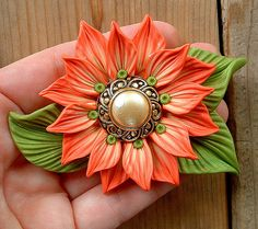 Coral Cream on Bright Green Leaves pendant by ZudaGay,Love the button idea!
