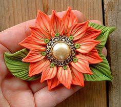 Coral Cream on Bright Green Leaves pendant by ZudaGay,Love the button idea!