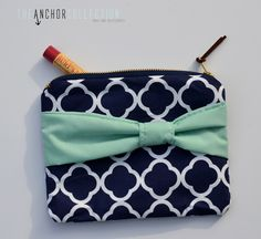 Navy Blue Quaterfoil Pattern Mint Bow Clutch /Cosmetic Clutch/Zipper Pouch/Make Up Bag/Bridesmaid Gift (15.00 USD) by TheAnchorCollection