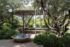 The Outdoor Dining Area--A pergola-covered outdoor dining area is the ideal spot to laze away the day beside a serene water feature.