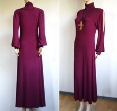 Gothic Victorian Style Maxi Dress _ 80s 90s Vintage Dark Maroon Burgundy High Neck Open Sleeve Long Dress _ Made Of Soft Cotton _ Women's Small S Medium M