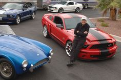 Shelby with a lineup of current cars made at his Las Vegas plant. (Photo: Shelby Automobiles, Inc.)