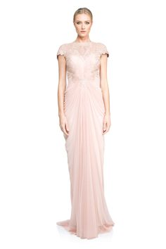 Corded Lace and Draped Tulle Gown | Tadashi Shoji