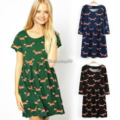 Fashion Women One-piece Cotton Fox Printed Dress Short Sleeve Plus Dress C1MY | eBay