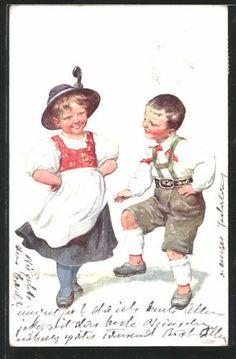 Superbe-artiste-AK-Karl-jour-ferie-jeune-couple-lors-de-la-populaire-1911