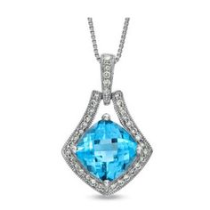Faith Blue Topaz and Diamond Pendant - TDN Stores