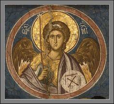 The Archangel Michael, I believe the Iconographer is Photis Kontoglou. Byzantine Icons, Byzantine Art, Early Christian, Christian Art, Religious Icons, Religious Art, Images Of Christ, Small Icons, Saint Michel