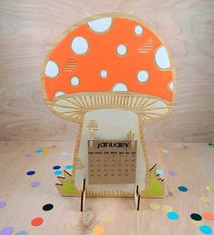 self standing desk wooden mushroom 2014 calendar / made to order with your choice of color / kitsch retro
