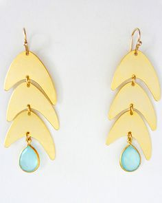 Fish Tail Earrings with Stone