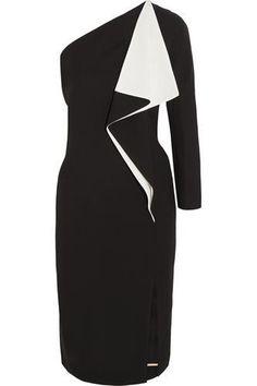 Chloé - One-shoulder ruffled silk-blend crepe dress Off One Shoulder Dress, One Shoulder Cocktail Dress, Black Cocktail Dress, Dress Black, Chloe Dress, Discount Designer Clothes, Ruffle Dress, Clothes For Sale, Fashion Dresses