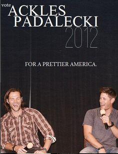 Prez and Vice Prez. YES. I'm thinking 2016, guys. :P #SupernaturalCast #ElectionDay2012