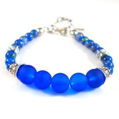 Women's Cobalt Blue and Silver Beaded Bracelet by DungleBees