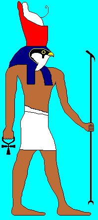 Horus- Man with the head of a hawk. The god of sky. The protector of the ruler of Egypt. Son of Horus and Isis. In battle he lost one of his eyes, which was later restored to him. This became the symbol of protection. after this battle he was chosen to be the ruler of the living world