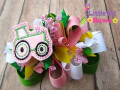 Pink Tractor Feltie Boutique Funky Bow by LittleBitBows on Etsy, $11.99