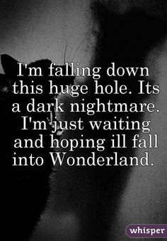 I'm falling down this huge hole. Its a dark nightmare. I'm just waiting and hoping ill fall into Wonderland.