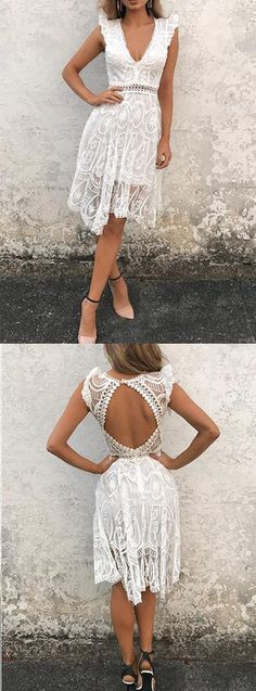 GLAM - White Lace Dress with Open Back