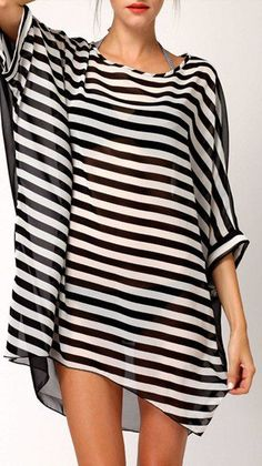 batwing striped cover up