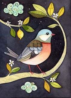 One night in lemon garden by {JooJoo}, via Flickr...beautiful watercolor bird painting...