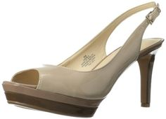 Nine West Women's Able Patent Dress Pump,Taupe Synthetic,8 M US