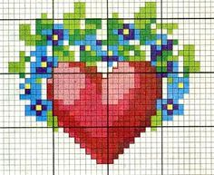 Heart and forget me not cross stitch