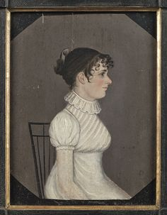 Pair of Pennsylvania oil on panel profile portraits of a husband and wife, ca. 1815, the gentleman wearing a black jacket, the woman wearing a white dress.