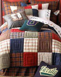 love the quilting... good quilt idea pattern for boys.