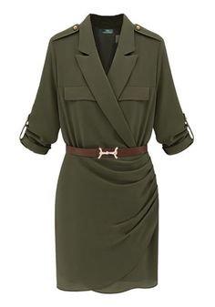Green Plain Belt Tailored Collar Flax Blend Dress #safari wear