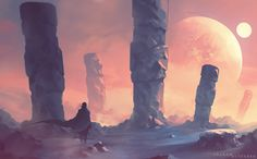 Solitude by ShahabAlizadeh stone pillars alien landscape location environment architecture   Create your own roleplaying game material w/ RPG Bard: www.rpgbard.com   Writing inspiration for Dungeons and Dragons DND D&D Pathfinder PFRPG Warhammer 40k Star Wars Shadowrun Call of Cthulhu Lord of the Rings LoTR + d20 fantasy science fiction scifi horror design   Not Trusty Sword art: click artwork for source