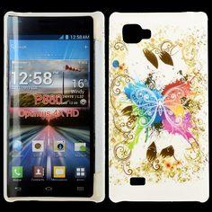 Valentine (Centrerad Regnbågsfjäril - Vit) LG Optimus 4X HD Case
