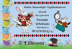 Mad Hatters cupcake party invitation Alice in wonderland theme Hullun hatuntekijän kuppikakkukestit Liisa Ihmemaassa teema juhlakutsu