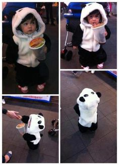 Step 1: Have child Step 2: Get panda outfit Step 3: Awwww