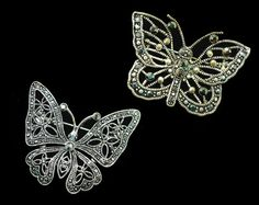 Vintage Silver & Marcasite Butterfly Brooch, Set of 2, Large Silver Butterfly, Faux Glass Marcasites, Gift For Her