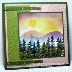 Hand stamped Mountain View – Stampin' Up! Card created by Michelle Zindorf - Waterfront Stamp Set Bee Cards, Handmade Birthday Cards, Handmade Cards, Stampin Up Christmas, Mini Scrapbook Albums, Heartfelt Creations, Masculine Cards, Card Kit, Stamping Up