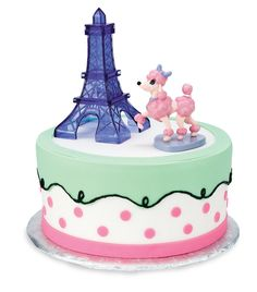Pink Poodle in Paris Cake Toppers
