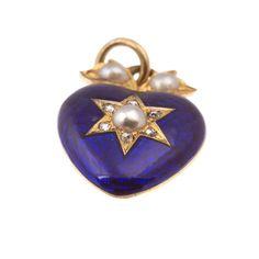 Antique gold, enamel, diamond and pearl heart locket | A.R. Ullmann