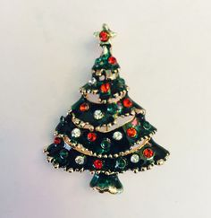 """Christmas Tree Brooch and Pendant Perfect Finishing Piece for Outfit Purse Tote Hat or Bridal Bouquet 2"""" x 1 1/2"""" by shoppingforbeads on Etsy https://www.etsy.com/listing/256300637/christmas-tree-brooch-and-pendant"""