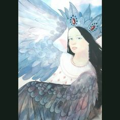 Sirin bird is the character in Russian mythology that takes a hero to the underworld. She has a head of a woman and a body of a bird. This is my interpretation of her. Chinese wotercolours on paper.