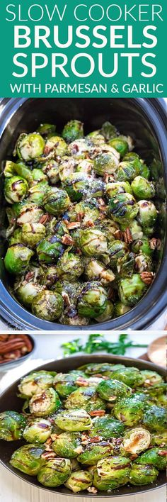 Slow Cooker Balsamic Brussels Sprouts with Parmesan, maple and pecans is the perfect easy side dish for a busy weeknight, Thanksgiving or any Christmas holiday party! Best of all, they're a set and forget recipe made entirely in your crock-pot with no oven or stove time! #sidedish #thanksgiving #christmas #slowcooker #crockpot #balsamic #parmesan #garlic #brusselssprouts