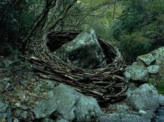 """land art"" by the British sculptor, photographer, and installation artist Andy Goldsworthy"